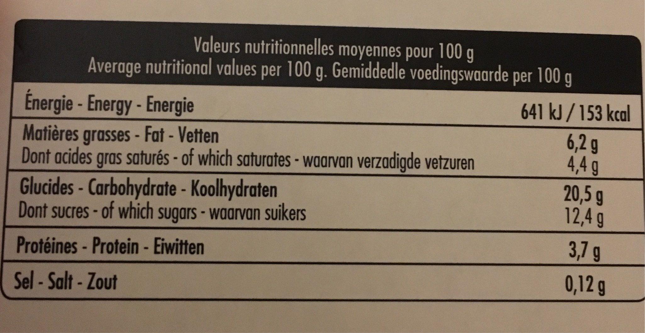 Riz au lait à la vanille de Madasgascar - Voedingswaarden