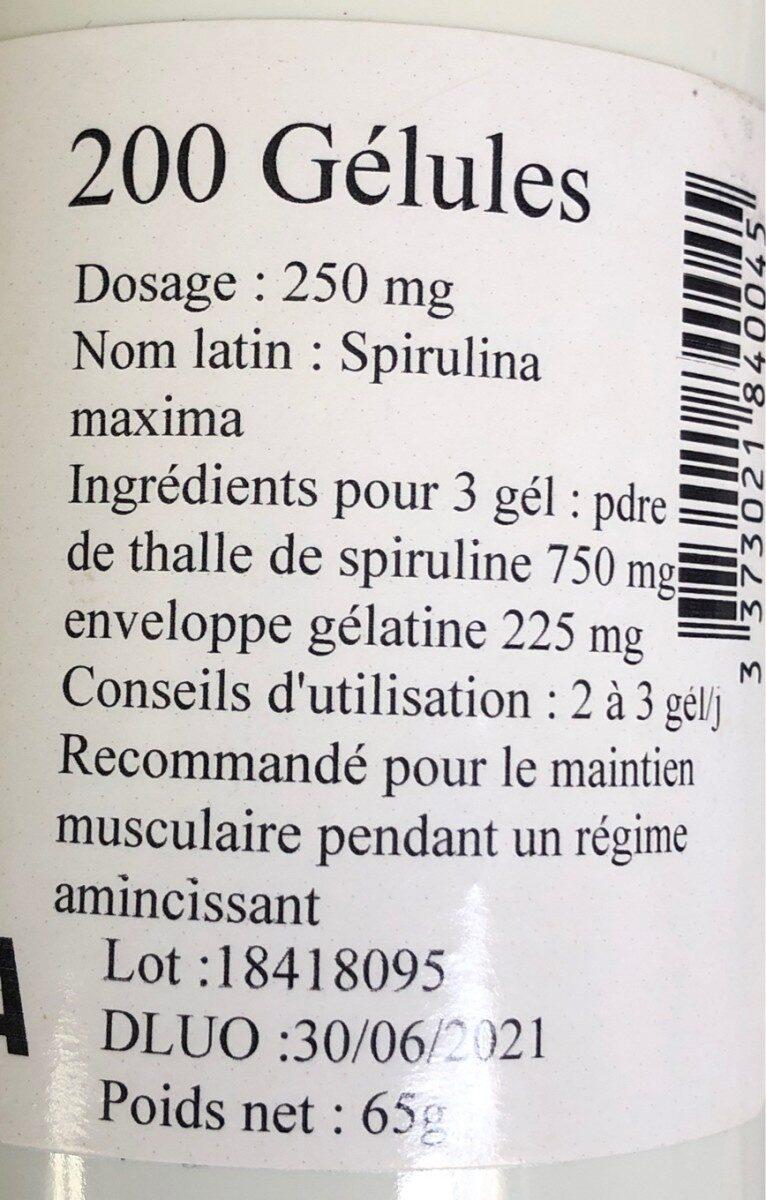 Gellules spiruline maxima - Ingrediënten
