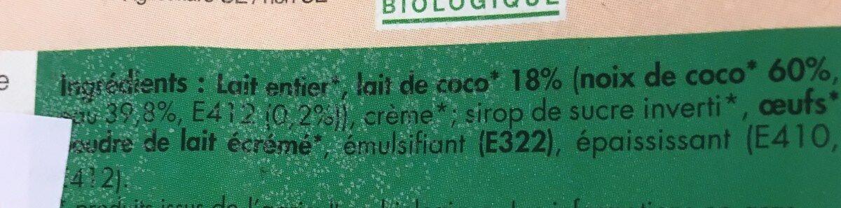 Creme glacee noix de coco - Ingrediënten - fr