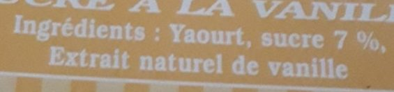 Yaourt fermier sucré vanille - Ingredients - fr