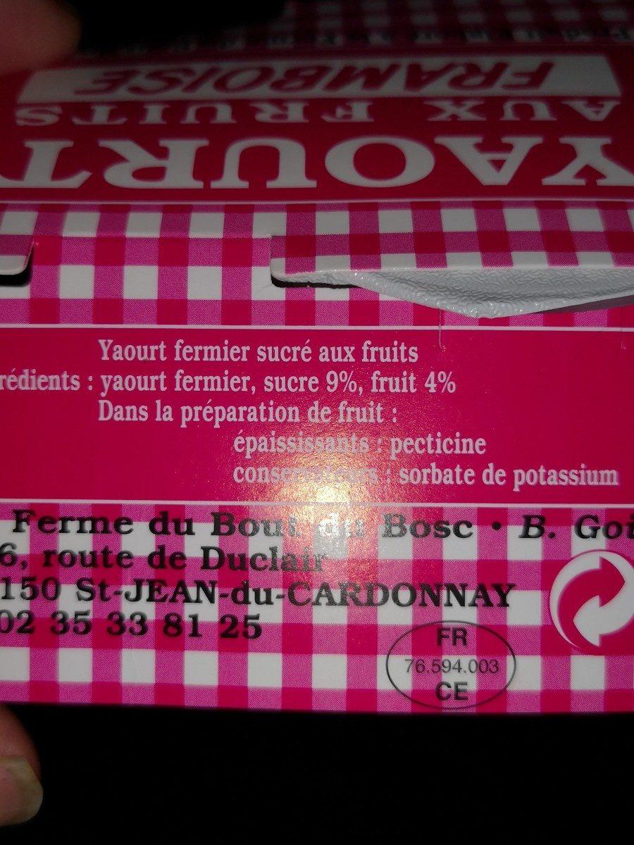 Yaourt aux fruits. Framboise - Ingredients - fr
