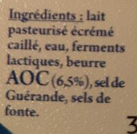Cancoillotte nature - Ingredients