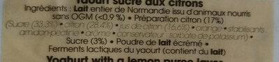 Yaourt Citron - Ingrédients - fr