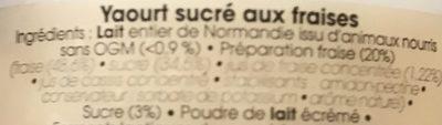 Yaourt fraise - Ingredients