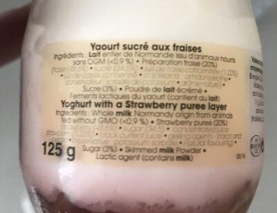 Yaourt sucré aux fraises - Ingrédients - fr