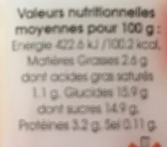 Yaourt fraise - Nutrition facts