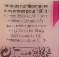Y.framboise X2 Peupliers, - Informations nutritionnelles - fr