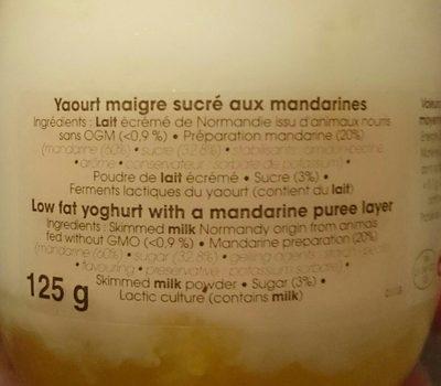Yaourt maigre mandarine - Ingredients