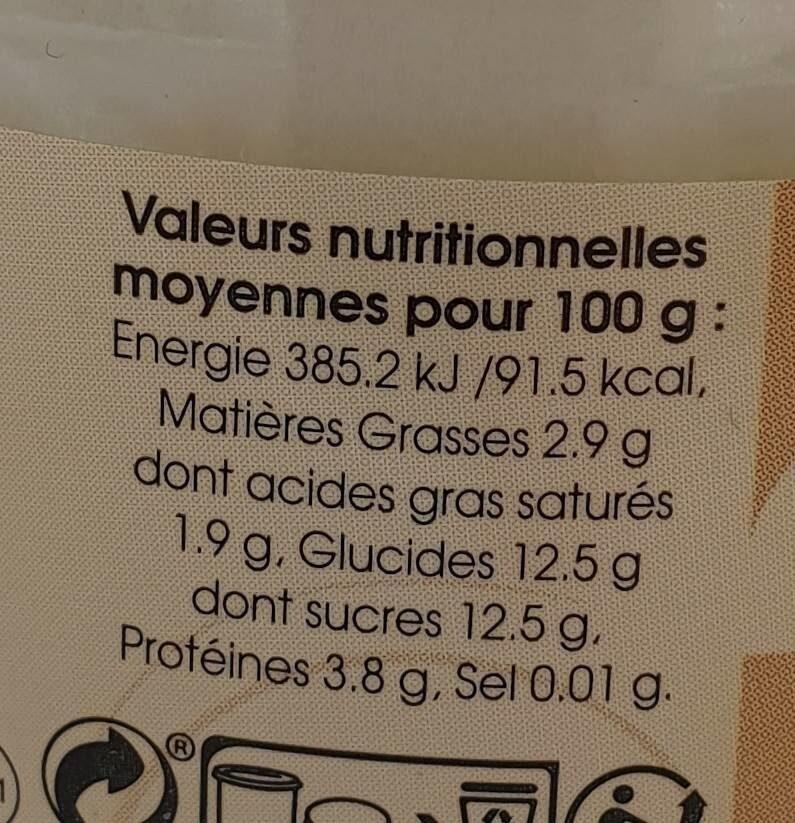 La ferme des peupliers Yaourt Vanille - Informations nutritionnelles - fr