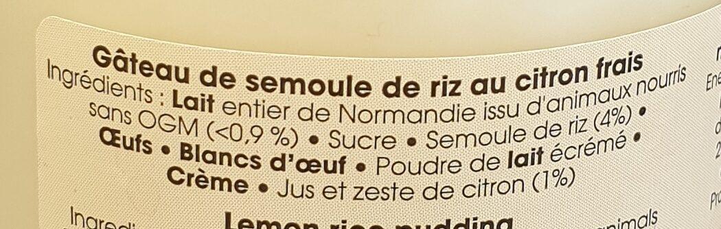 Gâteau de semoule citron frais - Ingrédients - fr
