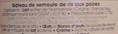 Gâteau de semoule poire - Ingrédients - fr