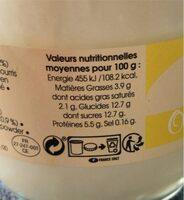 Oeufs Au Lait Vanille - Informations nutritionnelles - fr