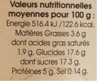 Oeufs au lait caramel - Informations nutritionnelles - fr