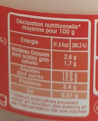 Yaourt fraise au lait du jour - Informations nutritionnelles - fr