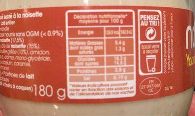 Yaourt au lait du jour noisette - Informations nutritionnelles - fr