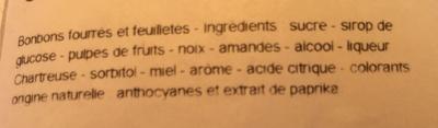 Bonbons myrtille frambroise noix Chartreuse - Ingrediënten