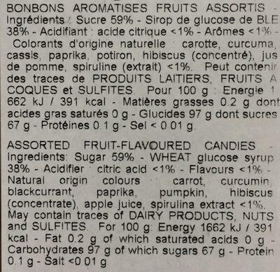 Salade de Fruits givrée - Nutrition facts