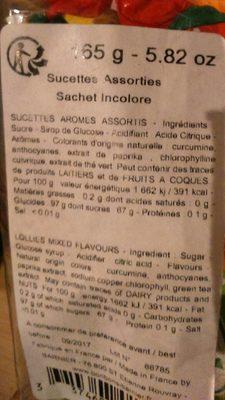 Sucettes - Informations nutritionnelles - fr