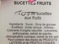 La sucette du confiseur - Ingrédients - fr