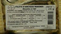 Anchois marines Recette a l'Ail LA SABLAISE - Ingredients - fr