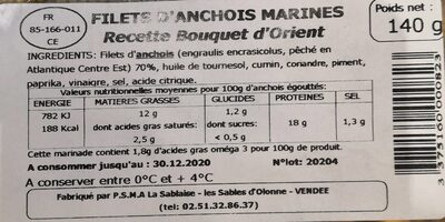 Filets d anchois marines - Nutrition facts - fr