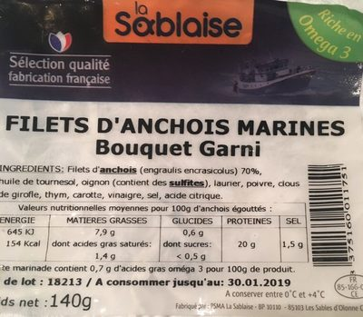 Filets d'anchois marinés - Produit