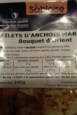 Filets d'anchois marinés bouquet d'orient - Ingredients