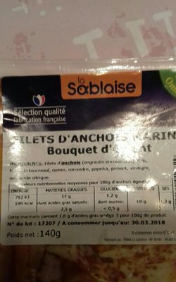 Filets d'anchois marinés bouquet d'orient - Nutrition facts