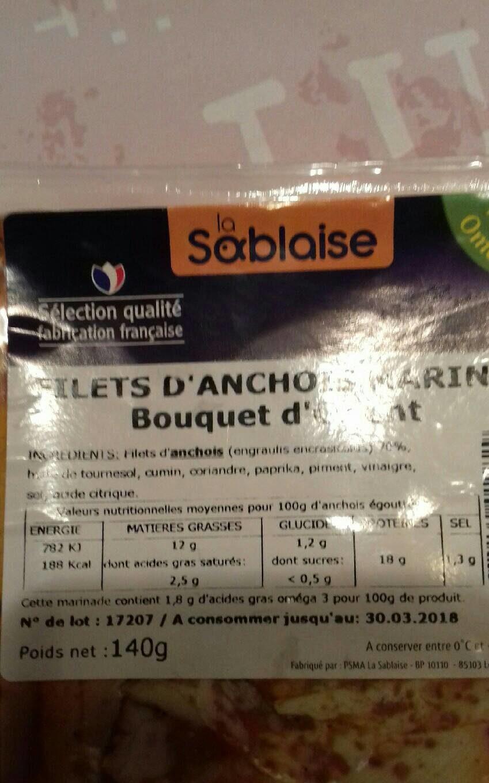 Filets d'anchois marinés bouquet d'orient - Nutrition facts - fr