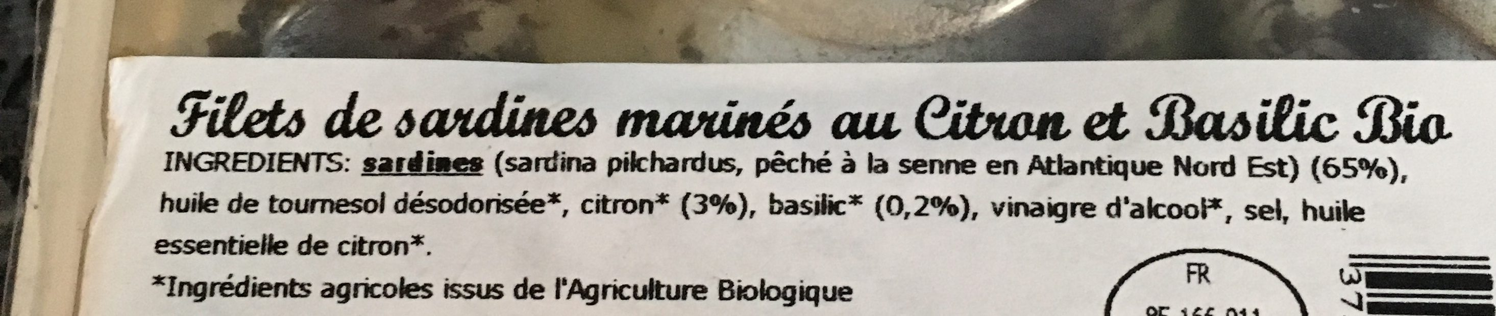 Sardines Marinees Citron Et Basilic - Ingredients - fr