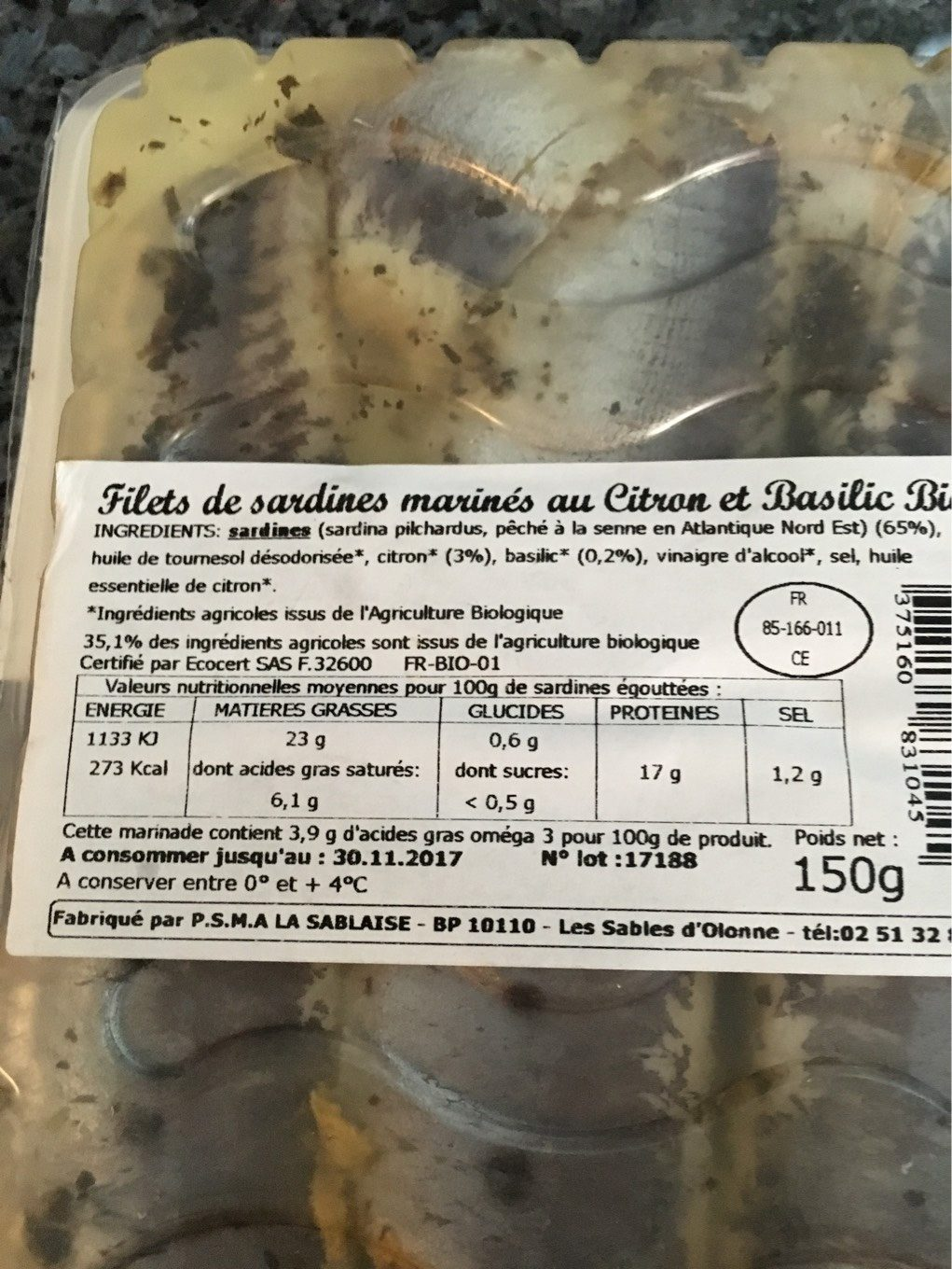 Sardines Marinees Citron Et Basilic - Nutrition facts - fr