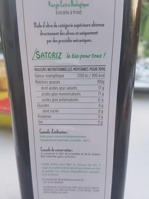 Huile d'olive bio - Ingredients - fr