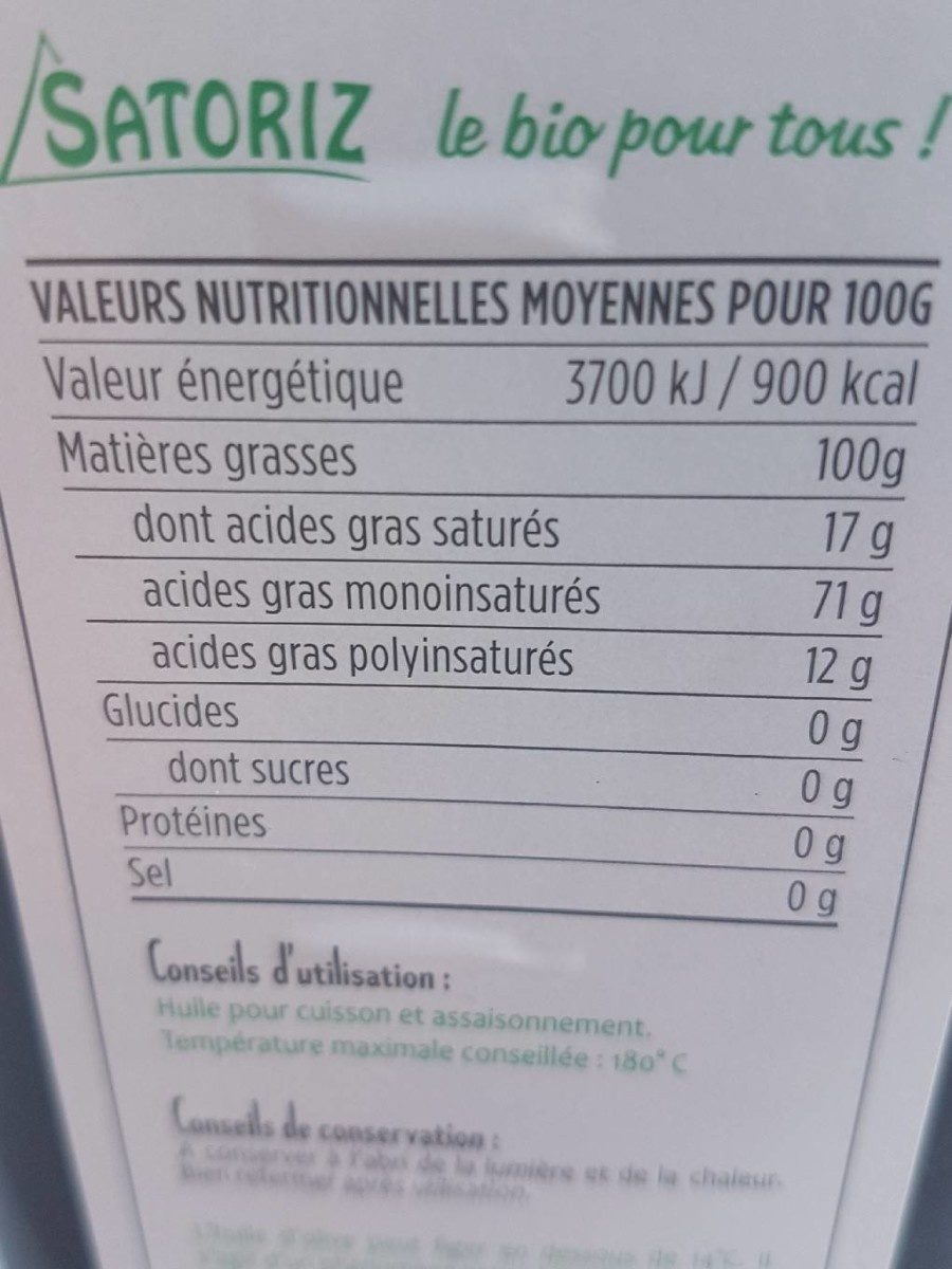 Huile d'olive bio - Nutrition facts - fr