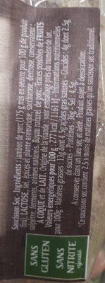 Véritable saucisson sec - Ingredients
