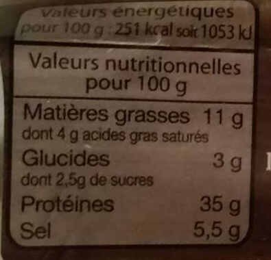 Véritable saucisson sec - Nutrition facts