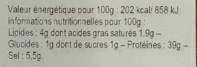 Viande des Grisons - Informations nutritionnelles