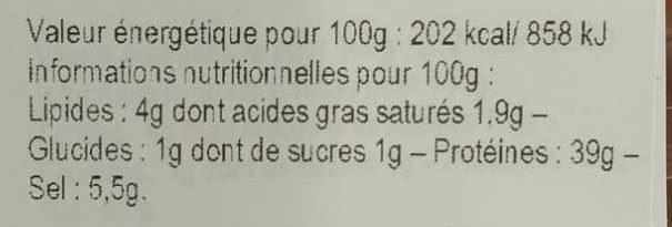 Viande des Grisons - Informations nutritionnelles - fr