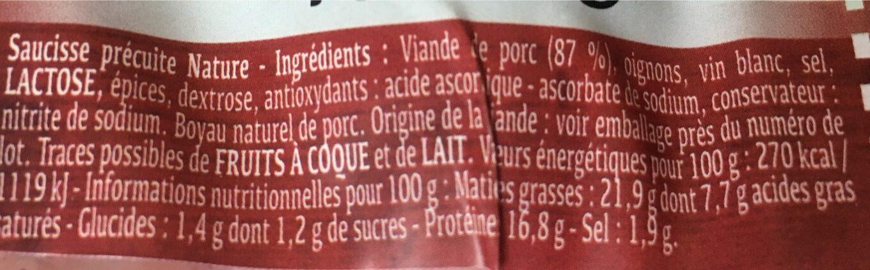 Diots a griller - Voedingswaarden - fr