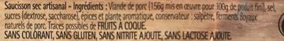 Saucisson sec artisanal - Ingrédients - fr