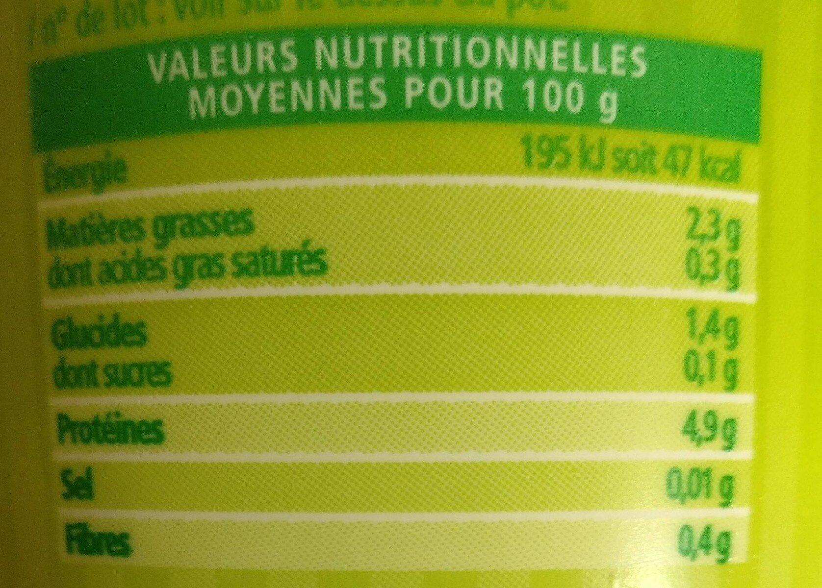Soja Brassé Nature - Informations nutritionnelles - fr