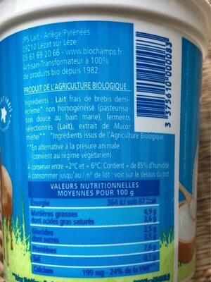Yaourt Lait Brebis 1/2 Écrémé - Nutrition facts - fr