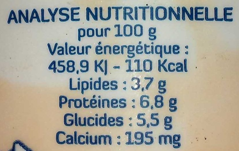 Fromage blanc au lait de brebis - Nutrition facts - fr