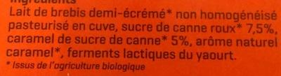 Yaourt Caramel au lait de brebis demi-écrémé Bio - Ingrédients - fr