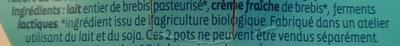 Yaourt à la grecque au lait de brebis nature - Ingredients