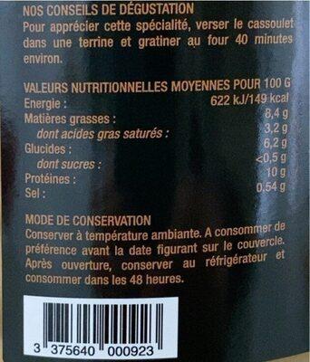 Cassoulet de Castelnaudary au confit de cuisses de canard - Informations nutritionnelles - fr