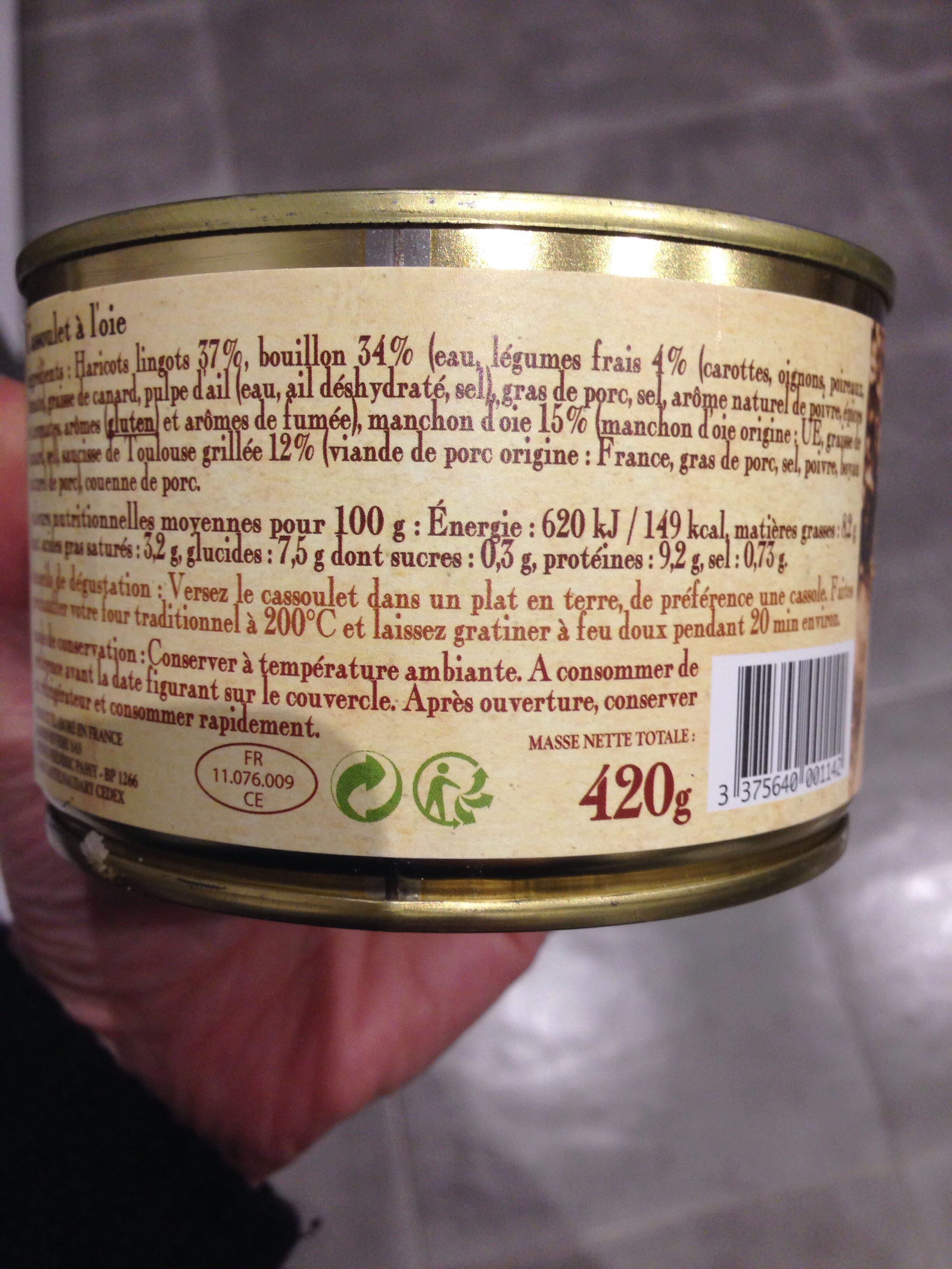 Cassoulet au confit d'oie - Ingrédients - fr
