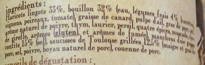 le cassoulet au confit d'oie de Castelnaudary cuisiné dans son bouillon de légumes frais, boîte 4/4 - Ingrediënten - fr