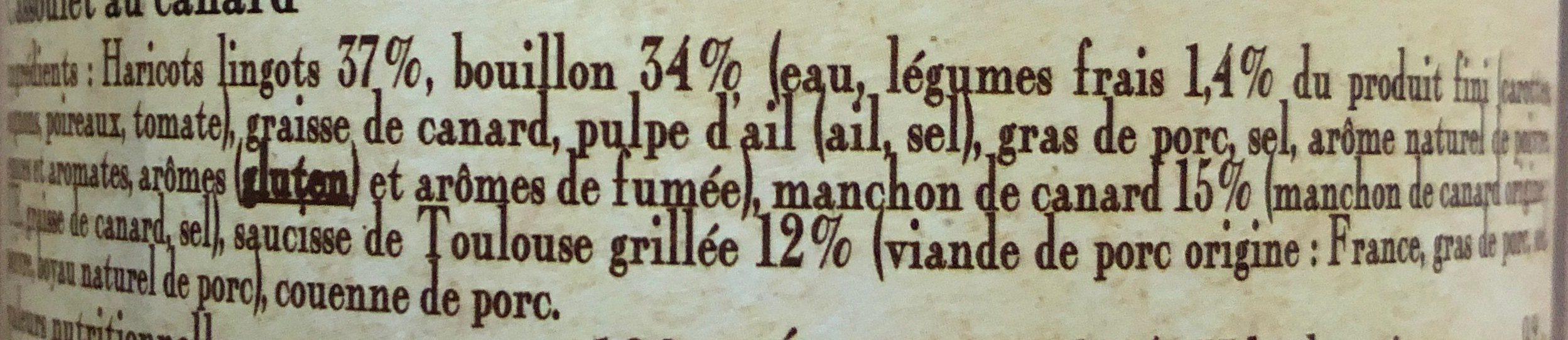 le cassoulet au Canard cuisiné dans son bouillon de légumes frais - Ingrédients - fr