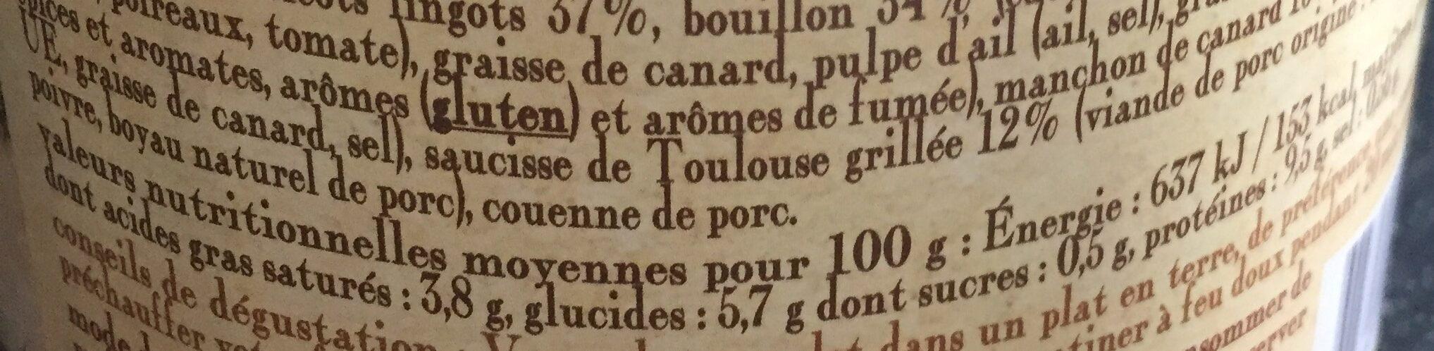 le cassoulet au Canard cuisiné dans son bouillon de légumes frais - Informations nutritionnelles - fr
