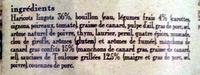 Le cassoulet au confit de canard de Castelnaudary cuisiné dans son bouillon de légumes frais, boîte 2/1 - Ingrediënten